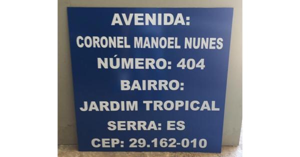Placa de Endereço 30x20 cm