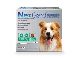 Antipulgas e Carrapatos NexGard para Cães de 10,1 a 25kg