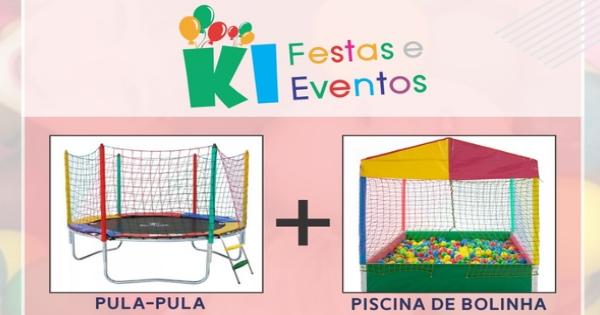 kit promocinal cama elastica e piscina de bolinhas por apenas