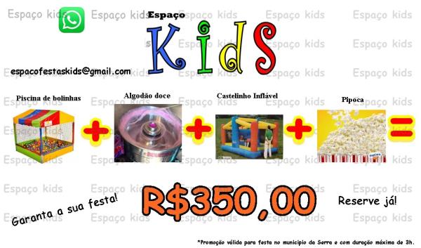Aluguel de Piscina de Bolinhas + Algodão Doce + Castelinho Inflável + Pipoca