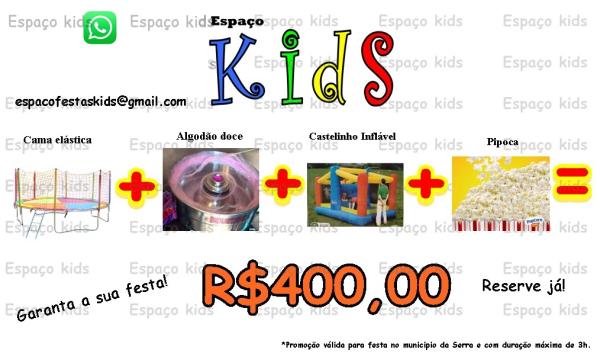 Aluguel de Pula Pula + Algodão Doce + Castelinho Inflável + Pipoca